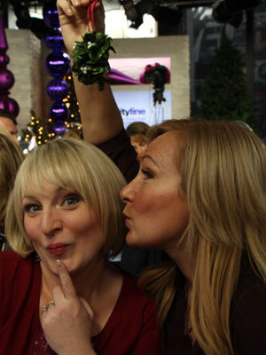 A kiss from Karen to Leigh-Ann