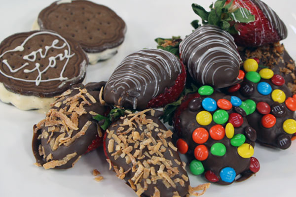 ... Chocolate covered strawberries and easy ice cream sandwiches
