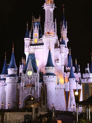 Cinderella's Castle lit up at night