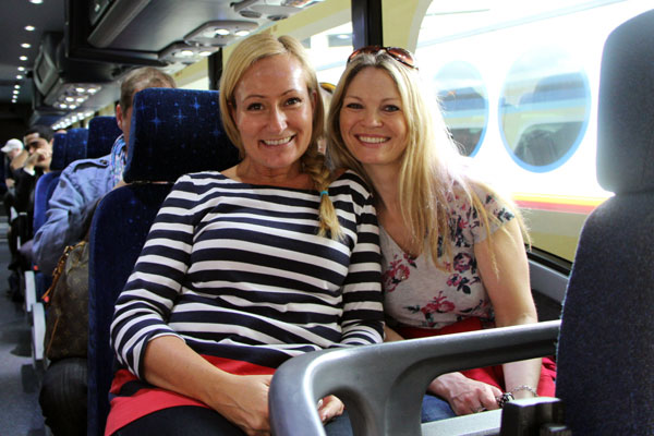 Karen Sealy and unit production manager Louise Norris on the bus to Disney