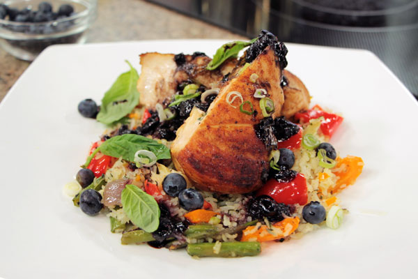 Maple-blueberry chicken stuffed with Canadian Brie and basil creme