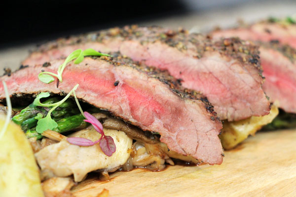 Grilled flank steak with asparagus, wild mushrooms and potatoes ...
