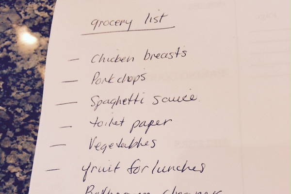 grocery list for 2