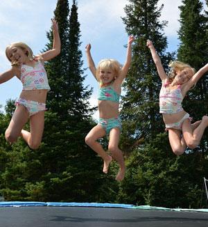Girls on trampolines