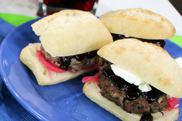 Bison sliders with blueberry BBQ sauce and pickled onions ...