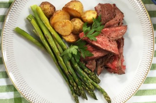 Claire Tansey's One-pan London broil with potatoes and asparagus
