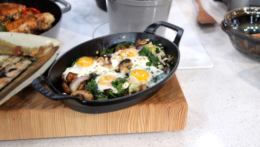 Cast iron leek, mushroom, shallots, and spinach with baked ...