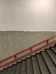Empty underground flight of stairs