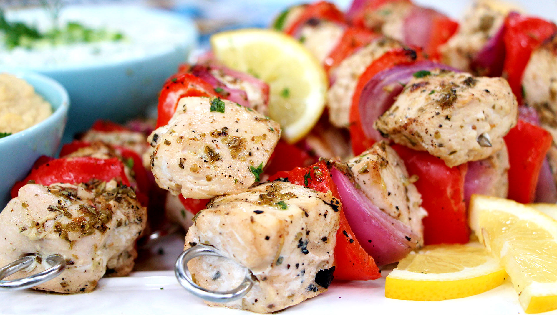 Grilled chicken souvlaki with tzatziki dipping sauce