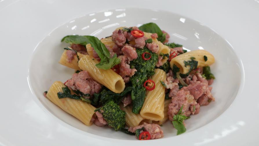 Chili sausage rigatoni with rapini
