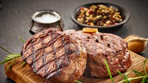 Beef tenderloin perfectly grilled with peppercorn and brandy cream sauce.