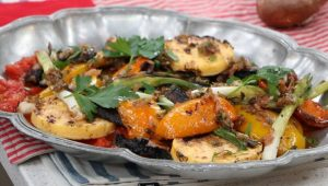 grilled polenta, mushrooms and peppers with shallot dressing july 3rd ricardo