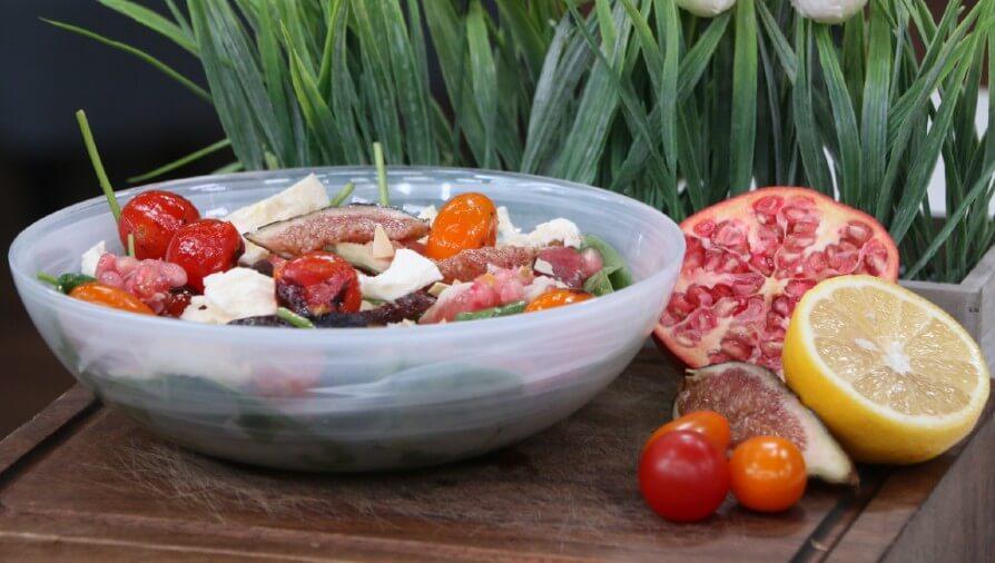 Fig, Buffalo Mozzarella, Prosciutto, Arugula, Blistered Tomato Salad with Pomegranate Vinaigrette & Flaked Almonds