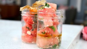 Watermelon, Cotija, Lime, Grenadilla & Mint Mason Jars