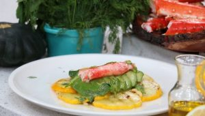 Grilled Patty Pan Salad with King Crab, Avocado & Mint