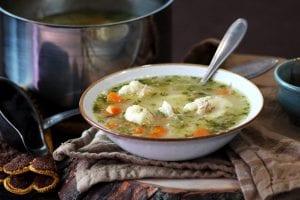 Klimbisupp chicken dumpling soup