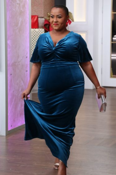 This velvet blue dress will make you feel beautiful this holiday season