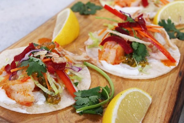 Pickled-lime shrimp taco with spicy pickled-mango