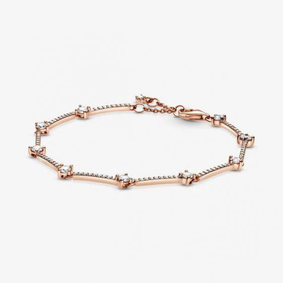 Gold Sparkling Pave Bars Bracelet