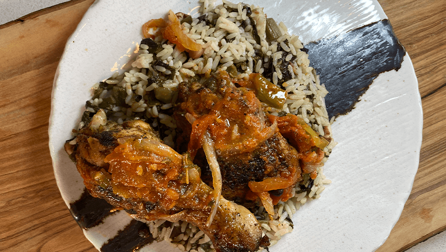 Chicken stew on callaloo rice - Cityline